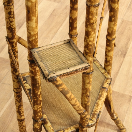 Antique Bamboo Caned Plant Stand Loveseat Vintage