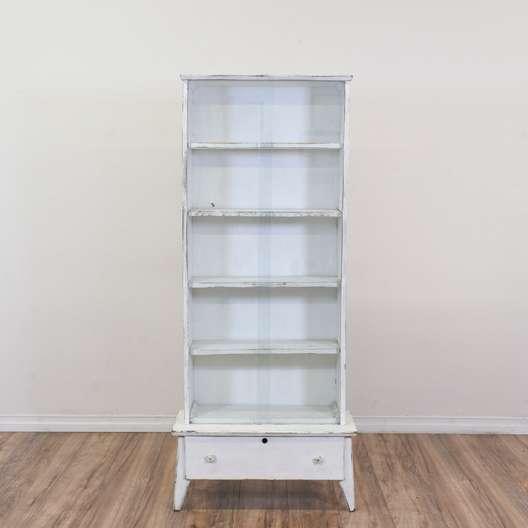 White Shabby Chic Glass Door Cabinet