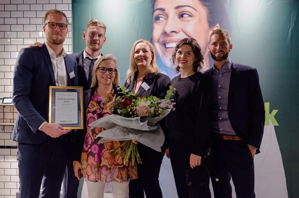 Från vänster till höger: Axel Wibrån (Beiersdorf), Sebastian Wickberg (LloydsApotek), Anna-Karin Wright (Beiersdorf), Anne Valin (LloydsApotek), Helena Tolf (LloydsApotek) och Karl Eckerdal (LloydsApotek)