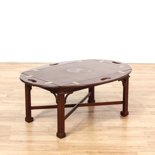 Vintage Butler Coffee Table: Mahogany Butler Style Coffee Table