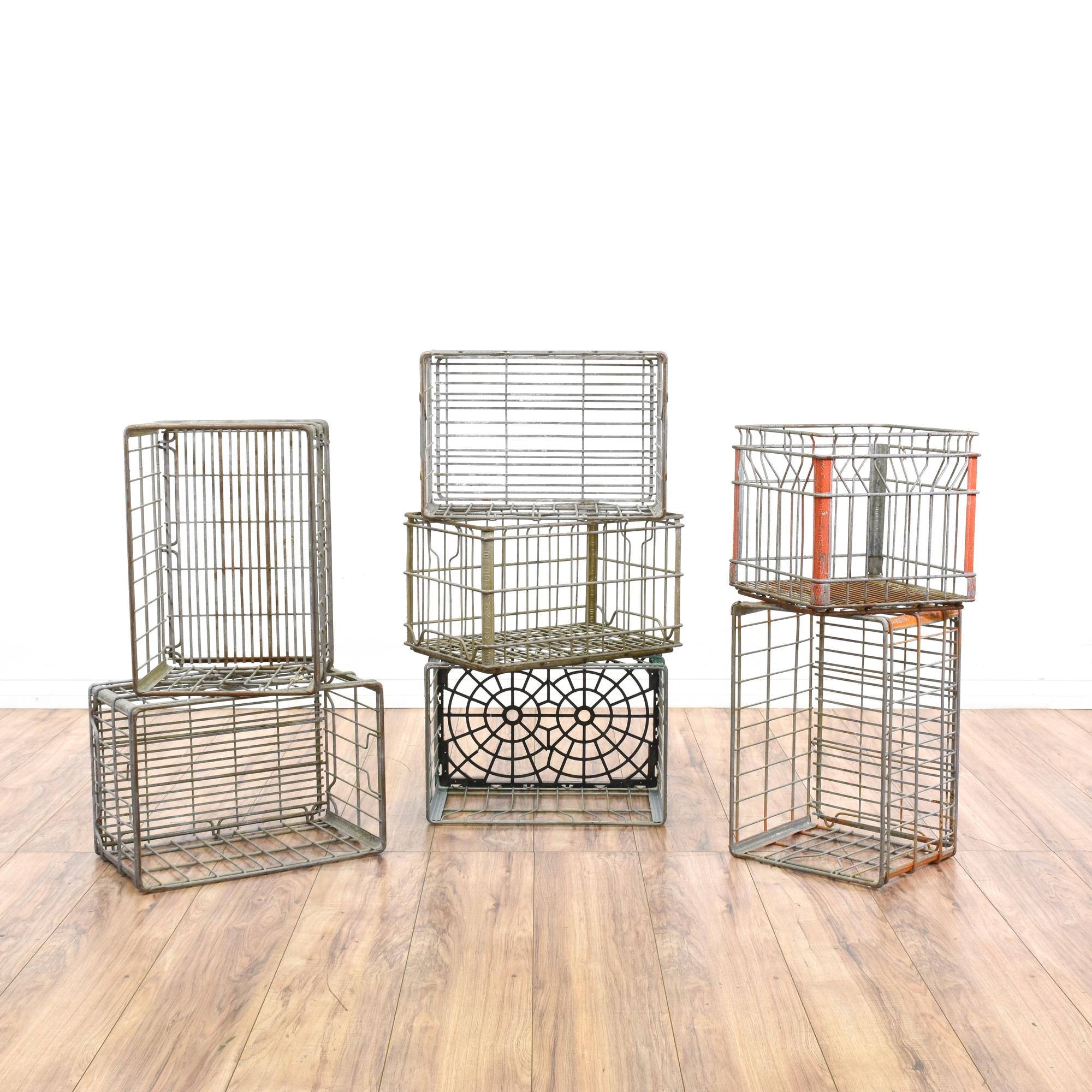 Basket Making Supplies San Diego : Rustic wire rectangular basket milk crate loveseat