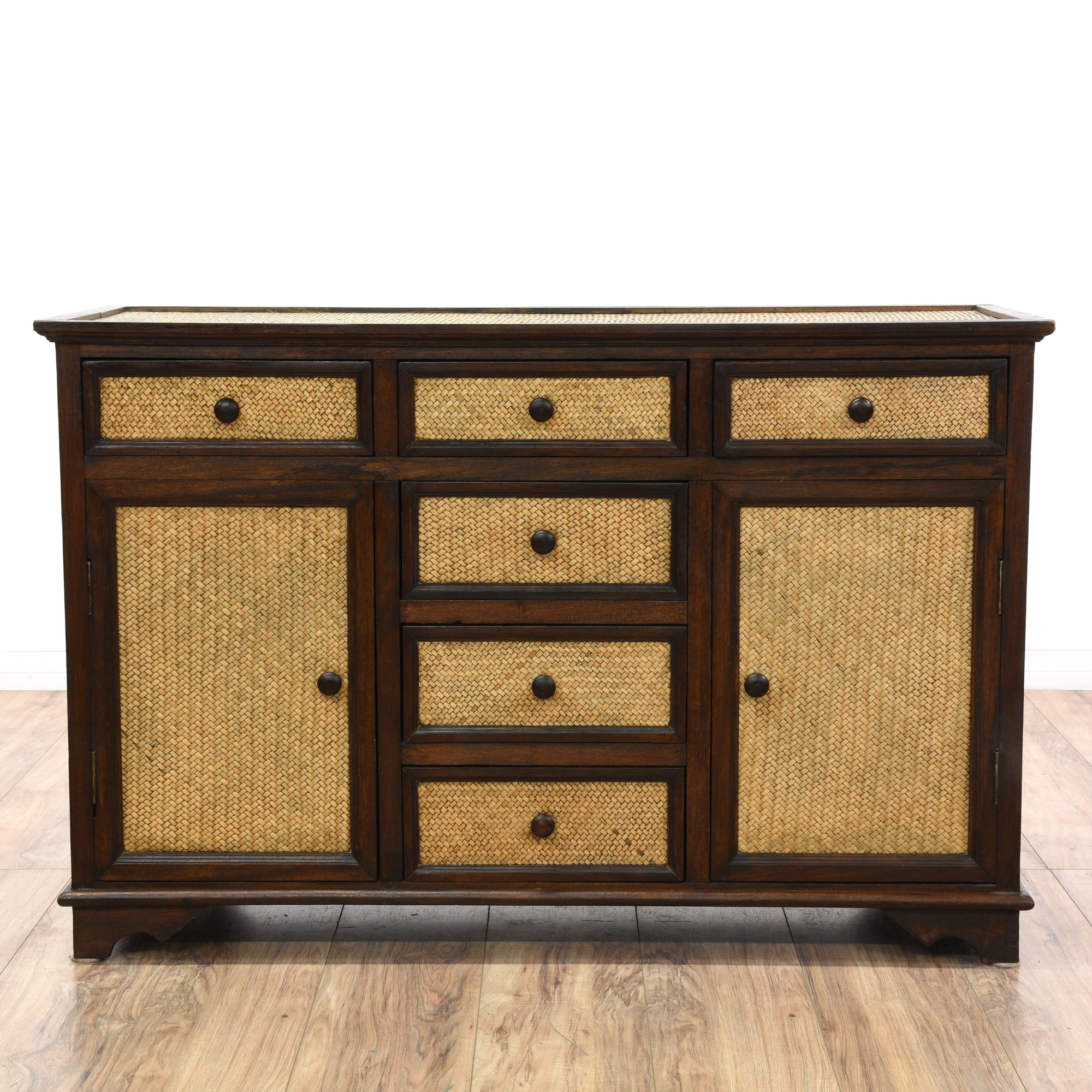 Wood rattan dresser buffet sideboard loveseat vintage for Sideboard rattan