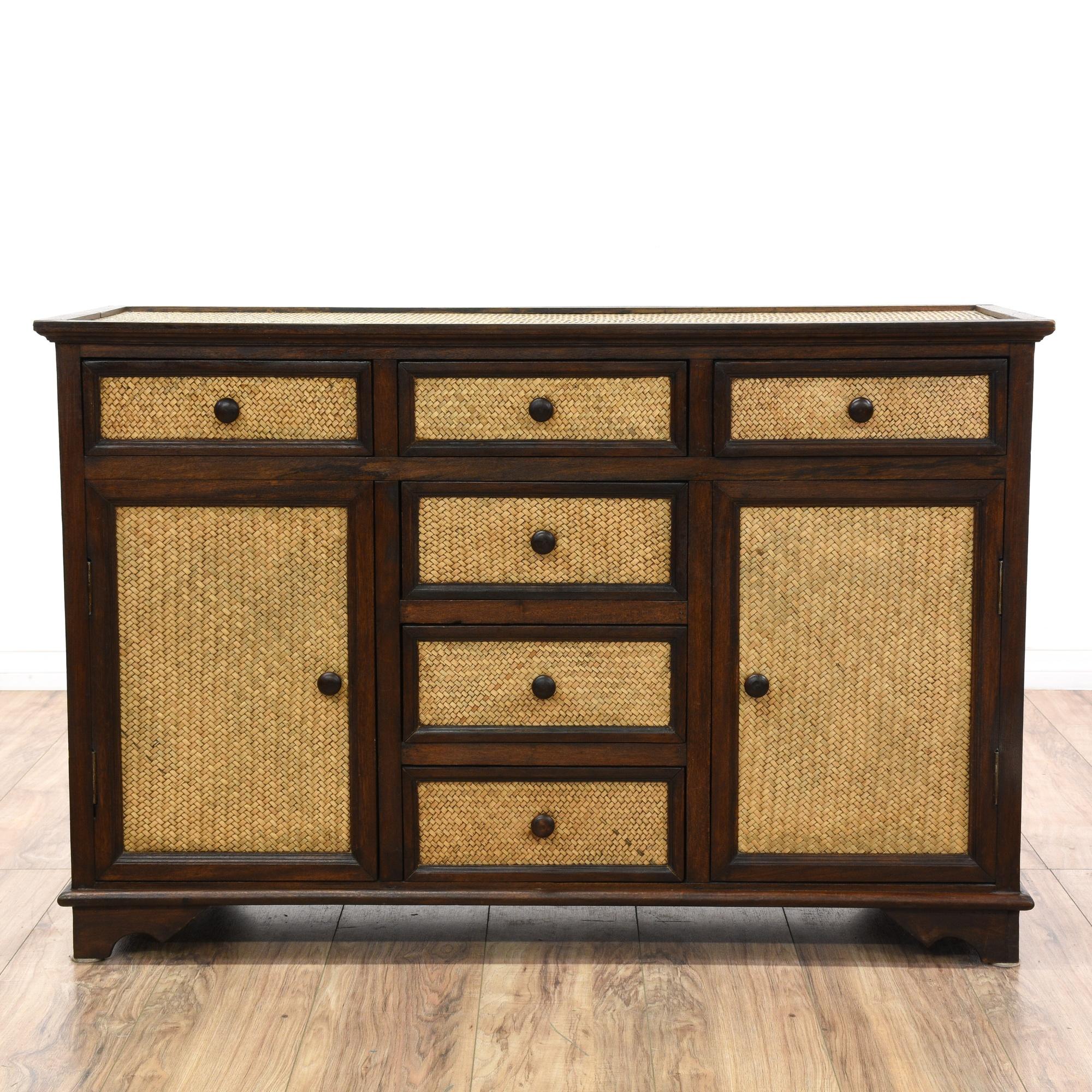 wood rattan dresser buffet sideboard loveseat vintage. Black Bedroom Furniture Sets. Home Design Ideas