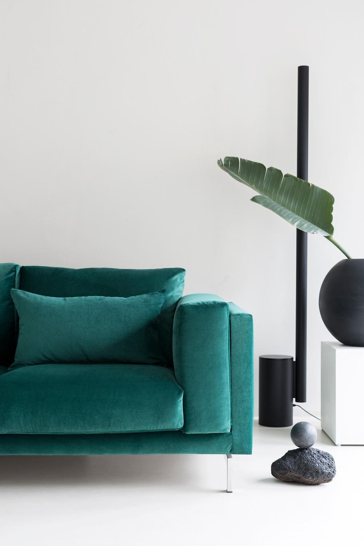 Bemz cover for IKEA Nockeby 2 seater sofa, fabric: Simply Velvet Ivy Green. Cushion covers, fabric: Simply Velvet Ivy Green, Brera Lino Verdigris and Brera Lino Ivy Green, designer: Designers Guild.  Photographer: Sara Medina Lind Stylist: Annaleena Leino