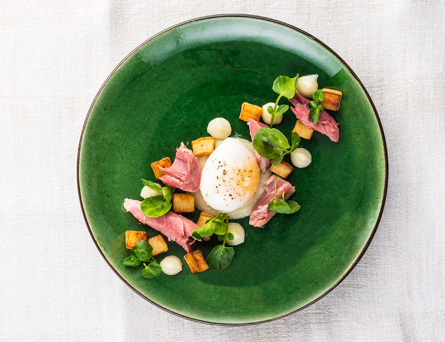 Warm ham hock, roasted parsley root and slow-cooked duck egg