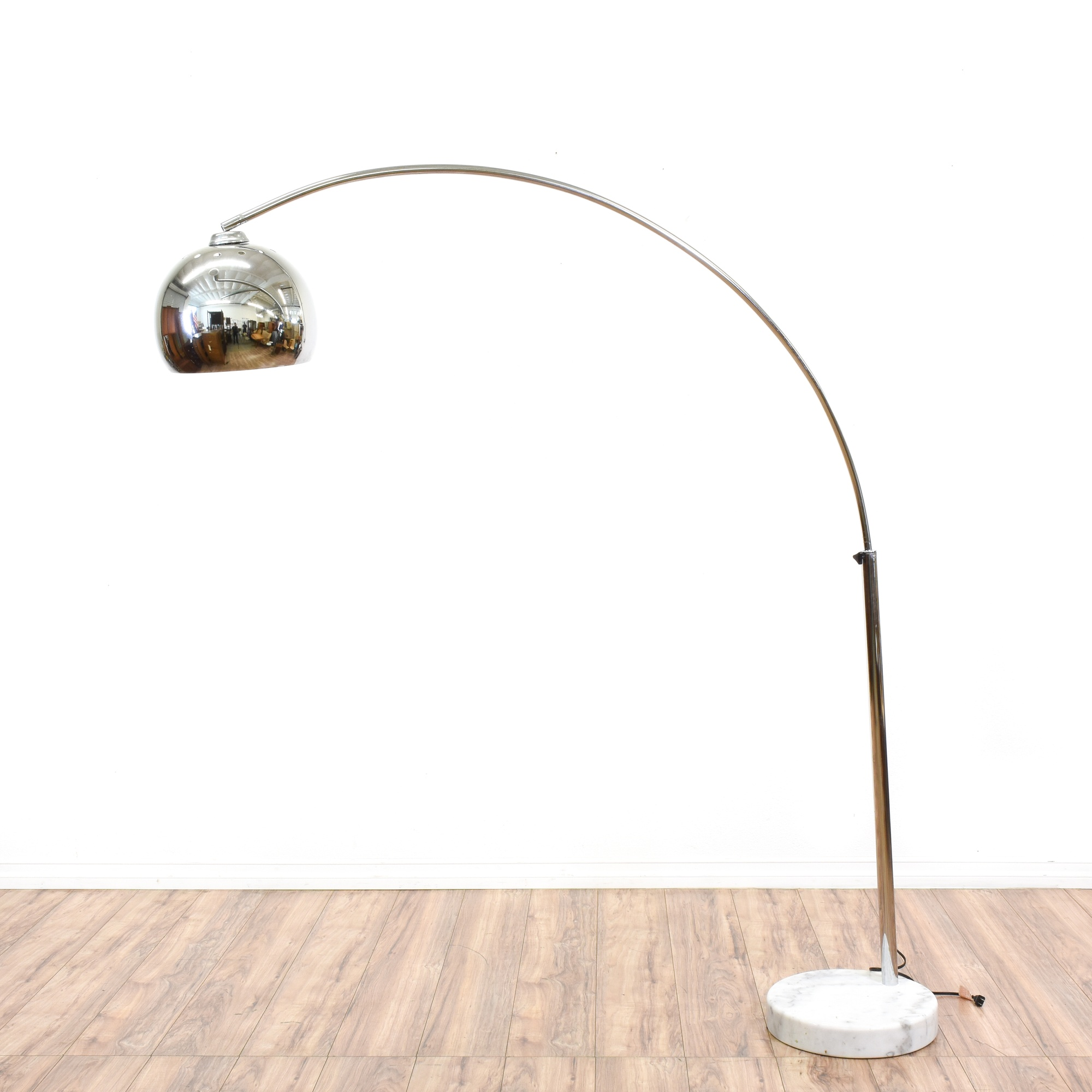chrome arc floor lamp w marble base loveseat vintage furniture san. Black Bedroom Furniture Sets. Home Design Ideas
