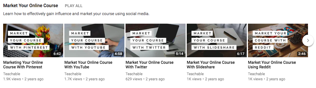 Custom thumbnails on Teachable's YouTube channel.