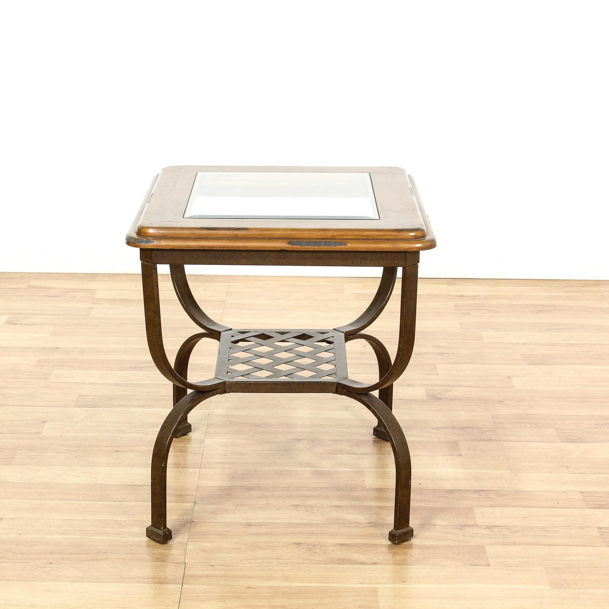 metal base glass wood end table loveseat vintage furniture san diego los angeles. Black Bedroom Furniture Sets. Home Design Ideas