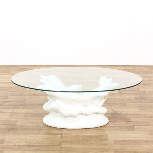 glass top dolphin sculpture coffee table loveseat vintage furniture san diego los angeles. Black Bedroom Furniture Sets. Home Design Ideas