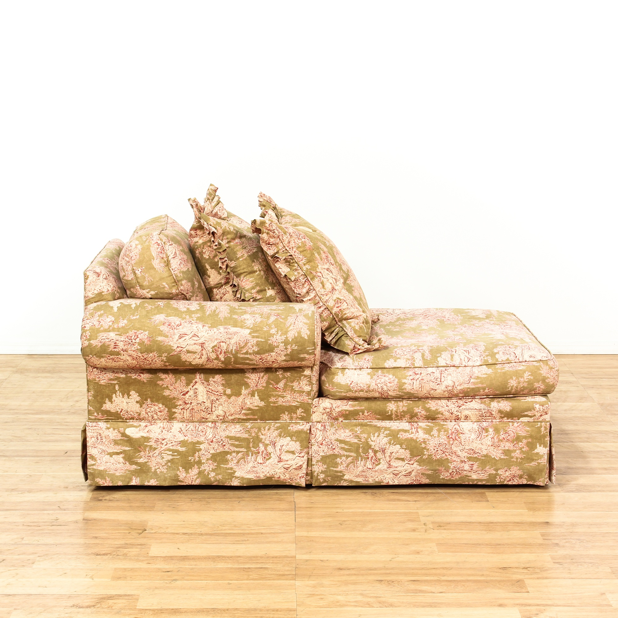 green shabby chic toile upholstered chaise lounge loveseat vintage furniture san diego los. Black Bedroom Furniture Sets. Home Design Ideas
