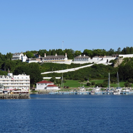 Mackinac Island featuring the Grand Hotel and the Tulip Time Festival