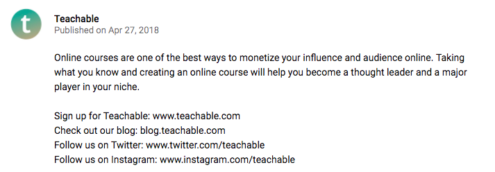 A video description on Teachable's YouTube channel.