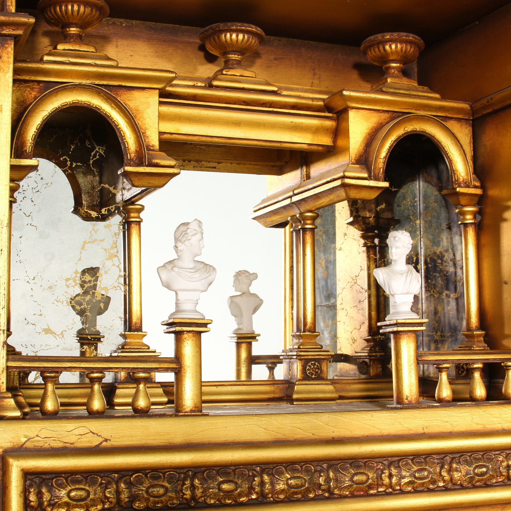 Gold Painted And Mirrored Italian Shrine Cabinet