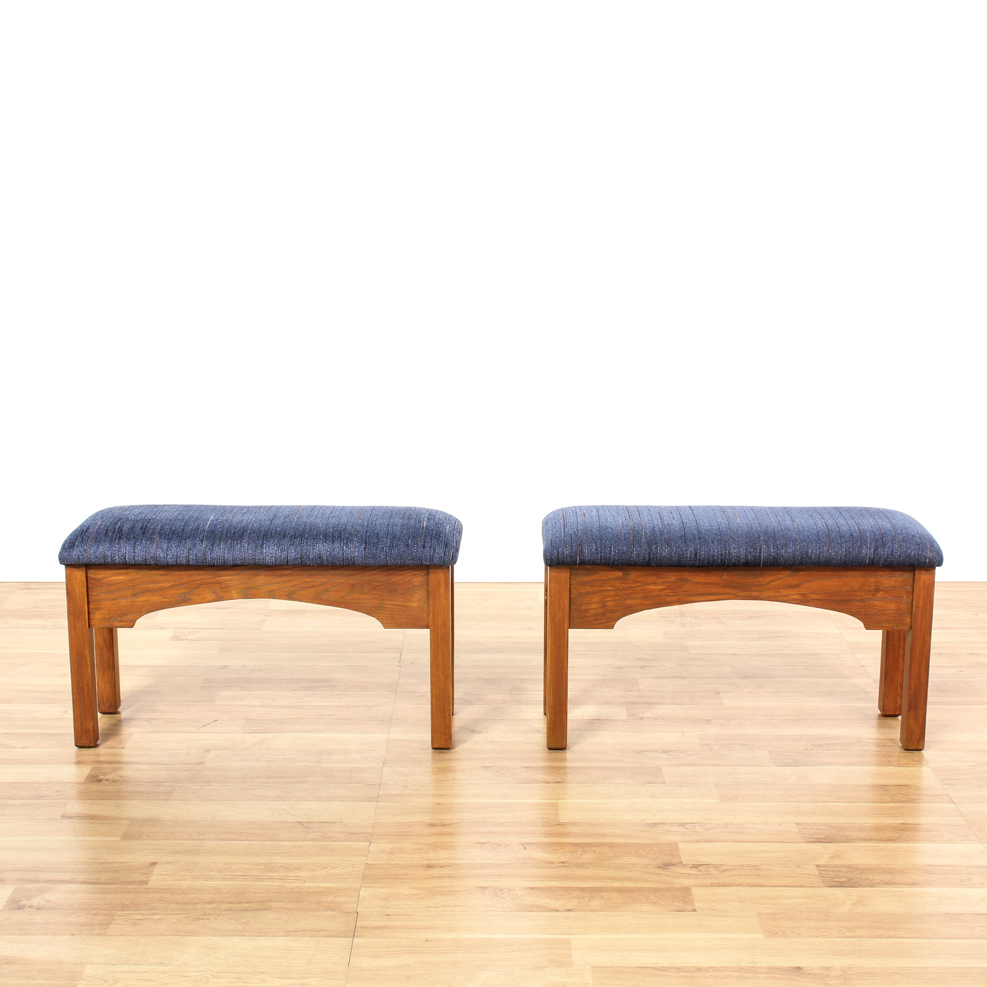 Pair Of Blue Upholstered Wood Benches Loveseat Vintage Furniture San Diego Los Angeles