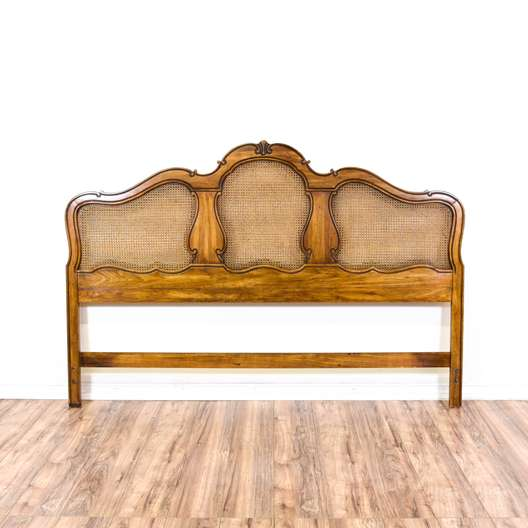 """Thomasville"" King Sized Maple Headboard w/ Caning"