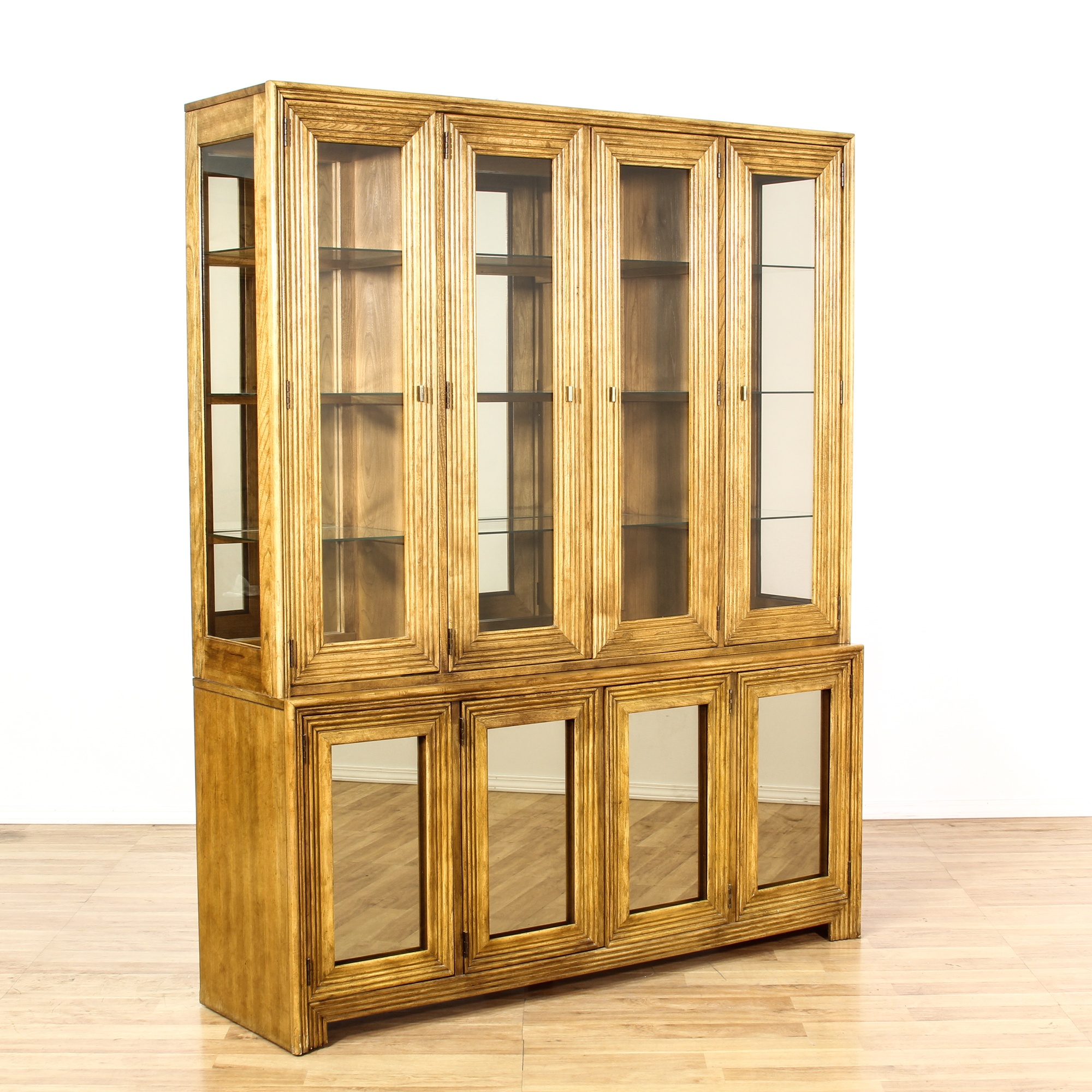 #B57C16 Glass Front Fluted Wood China Cabinet Display Case  with 2000x2000 px of Brand New Glass Display Cases Los Angeles 20002000 pic @ avoidforclosure.info