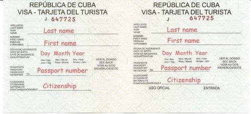 cuban visa tourist card cuba