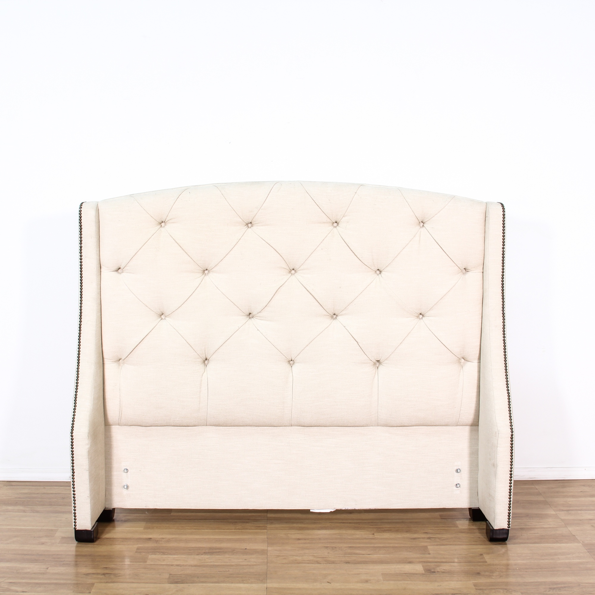 Queen Cream Tufted Amp Studded Upholstered Headboard