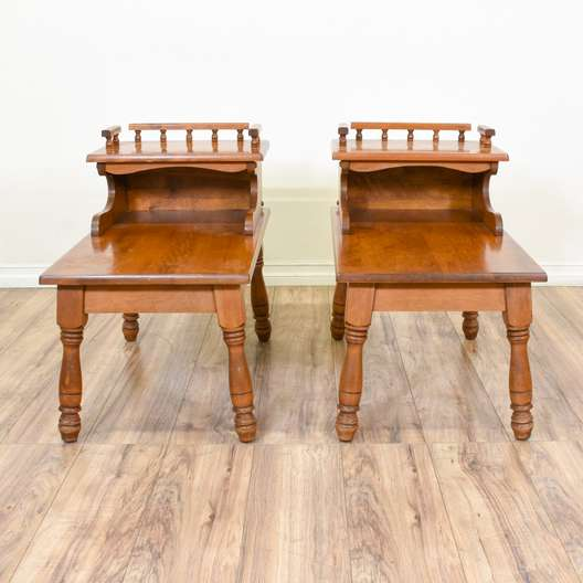 Pair of Carved Maple Step Tables