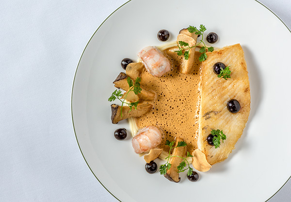 John Dory, langoustines, king oyster mushrooms, black garlic