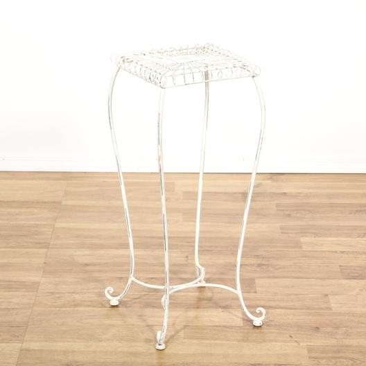 White Wrought Iron Plant Stand Loveseat Vintage