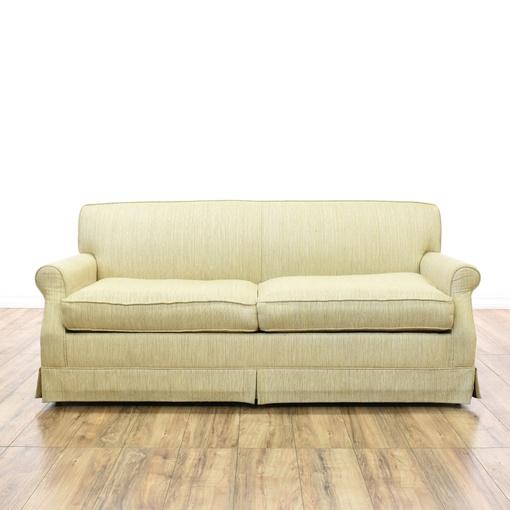 Woven Beige Upholstered Sleeper Sofa Bed