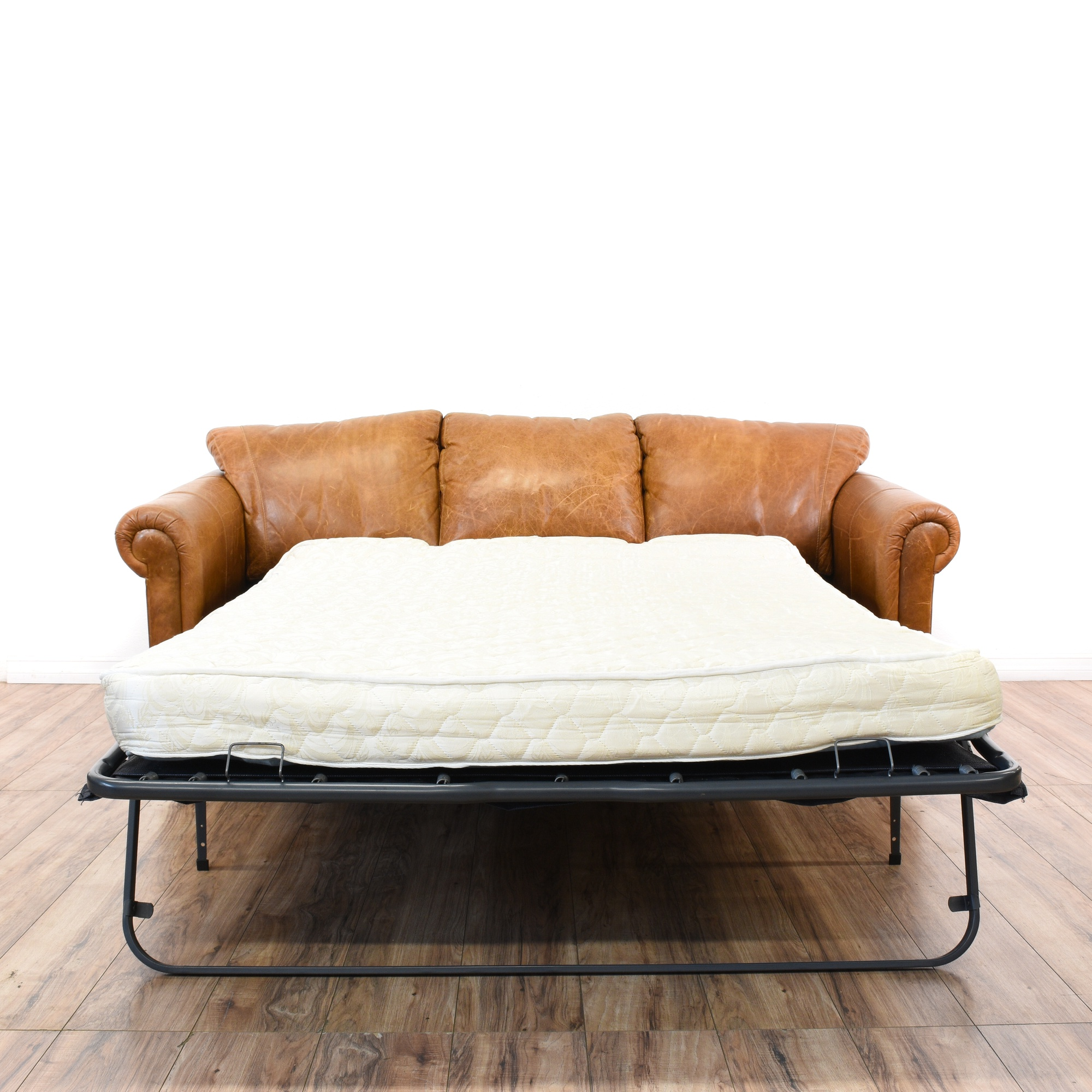 Distressed Camel Leather Sleeper Sofabed Loveseat