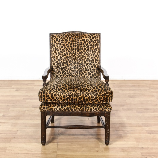 Stupendous Leopard Print Carved Wood Accent Chair Loveseat Vintage Unemploymentrelief Wooden Chair Designs For Living Room Unemploymentrelieforg