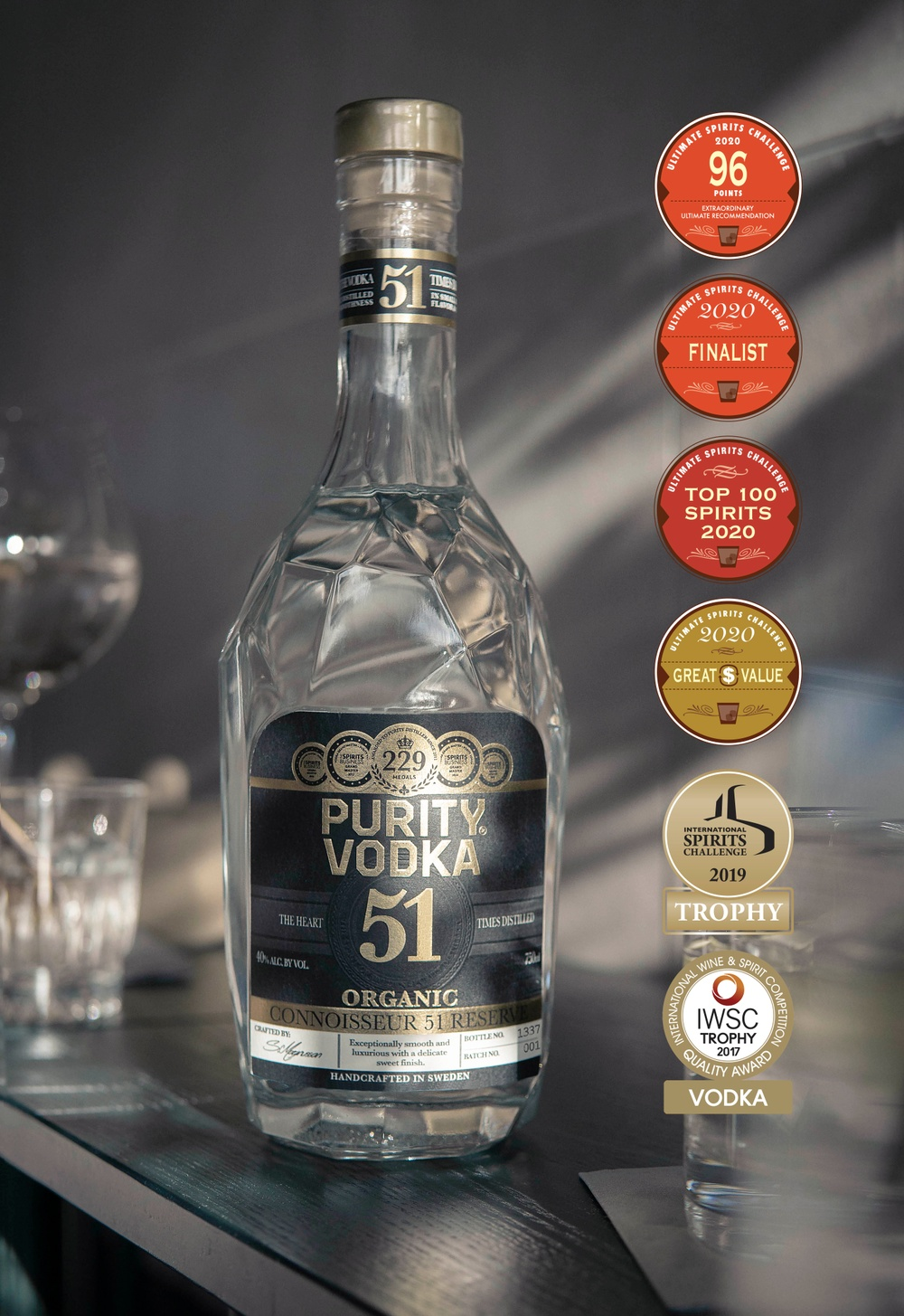 Purity Connoisseur 51 Reserve, Best Tasting Organic Spirit in the World.
