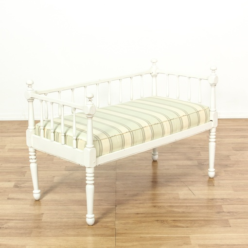 shabby white pegged chaise w cushion loveseat vintage furniture san diego los angeles. Black Bedroom Furniture Sets. Home Design Ideas