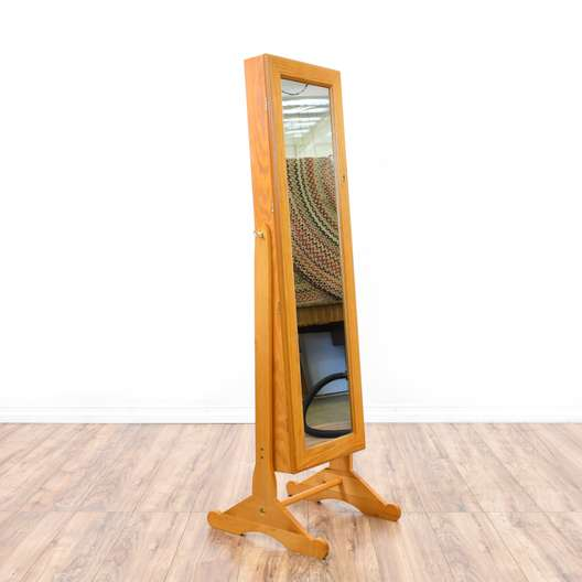 Full Length Maple Jewelry Storage Mirror