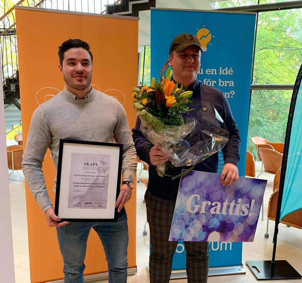 Rasmus Forsell och Adrian Skoglund, vinnare av SKAPA-talang för unga innovatörer