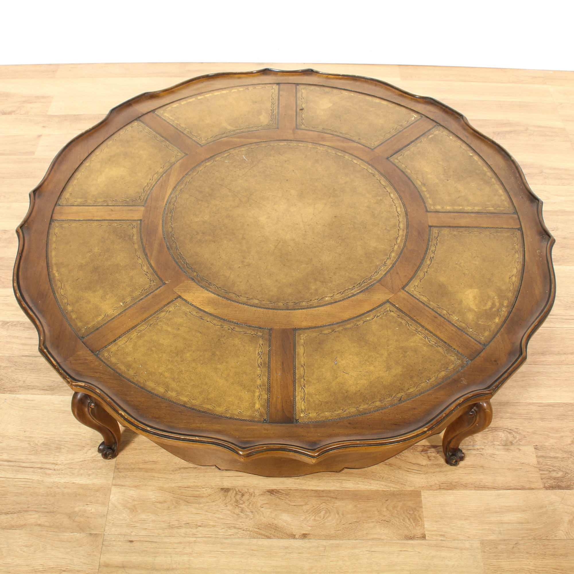 Antique Round Leather Top Coffee Table: Mid Century Round Leather Top Table