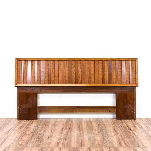 Mid Century Modern Wood Slat King Sized Headboard