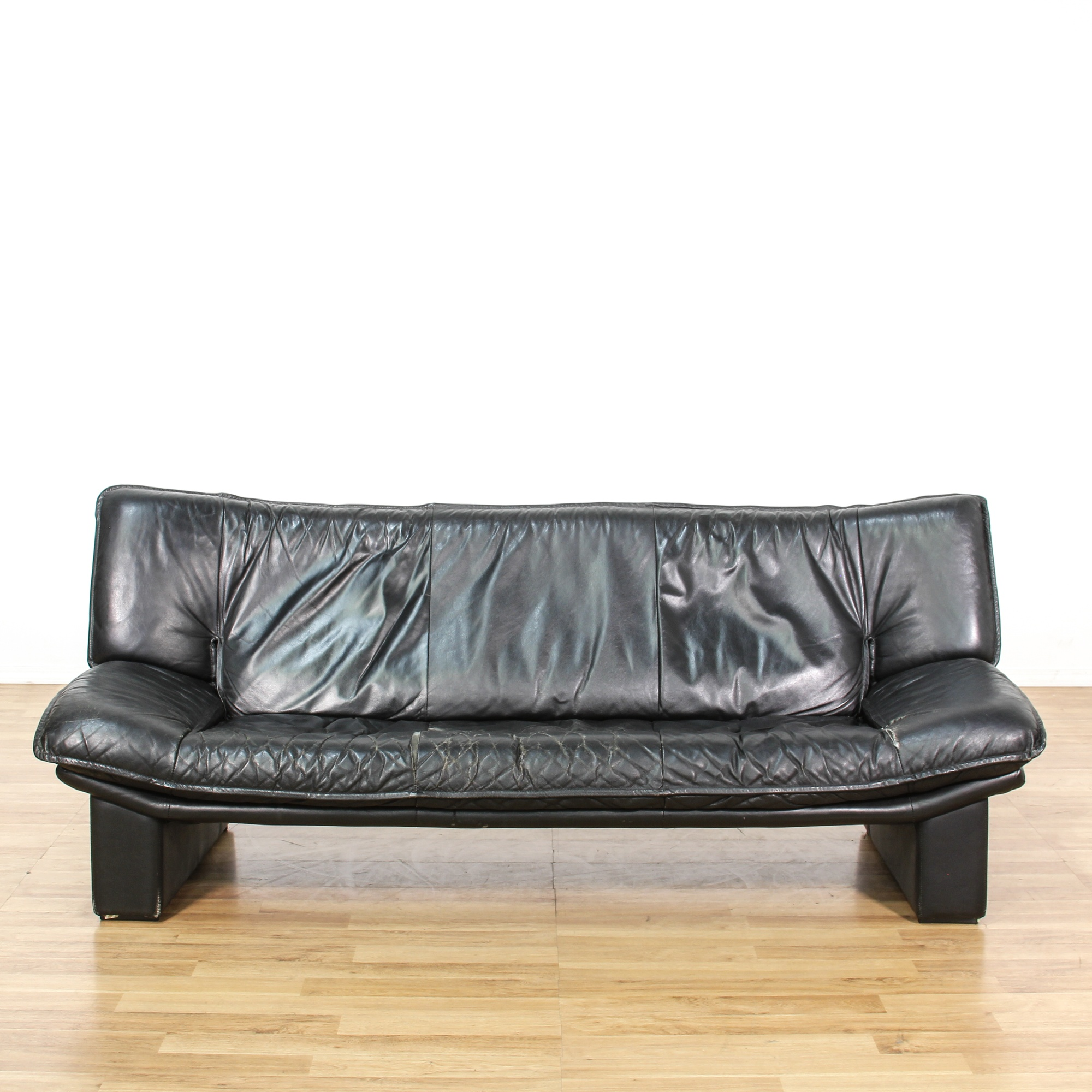 Leather Sofas In Los Angeles: Contemporary Black Leather Lounge Sofa