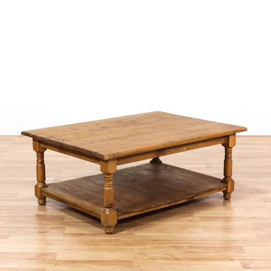 Rustic Pine Coffee Table W Shelf Loveseat Vintage Furniture Los Angeles