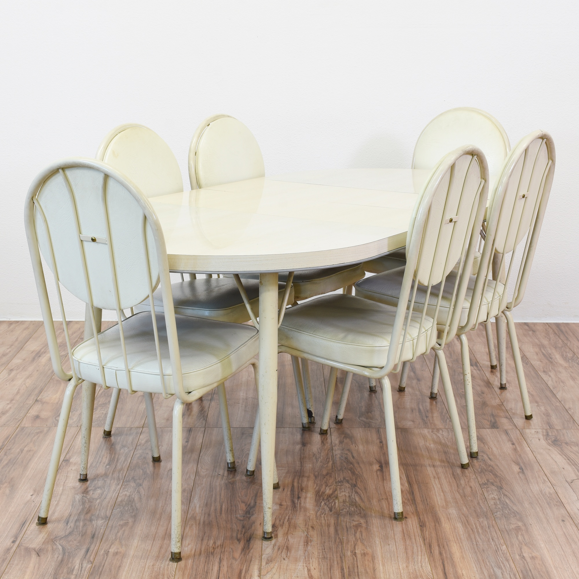 White Mid Century Modern Dining Set w/ 6 Chairs | Loveseat ...