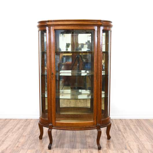 Victorian Curved Glass Curio Cabinet