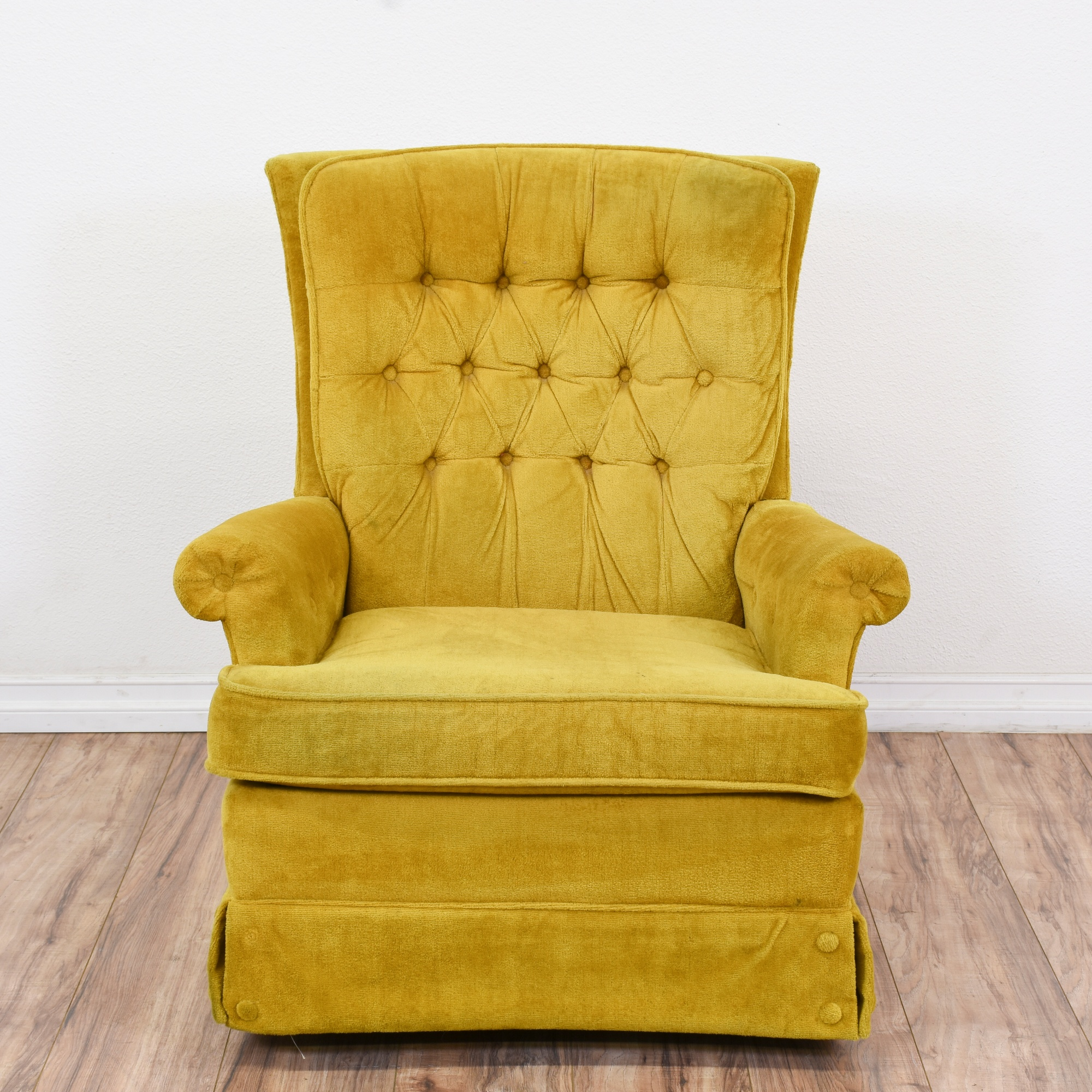 Vintage Yellow Velvet Tufted Armchair W/ Skirt | Loveseat Vintage Furniture  San Diego