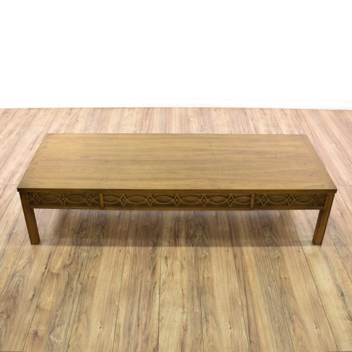 """Lane"" Carved Mid Century Modern Coffee Table"