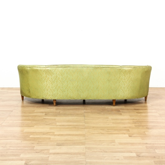 Curved Yellow Leather Sofa: Long Yellow Green Curved Back Vinyl Sofa