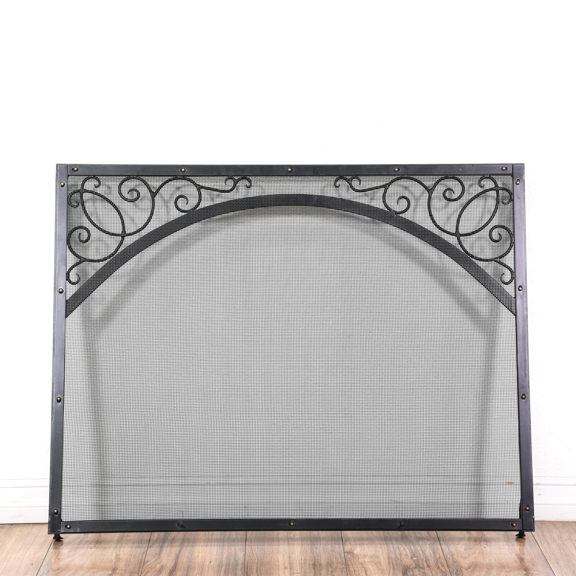Black Wrought Iron Fireplace Screen Loveseat Vintage Furniture San Diego Los Angeles