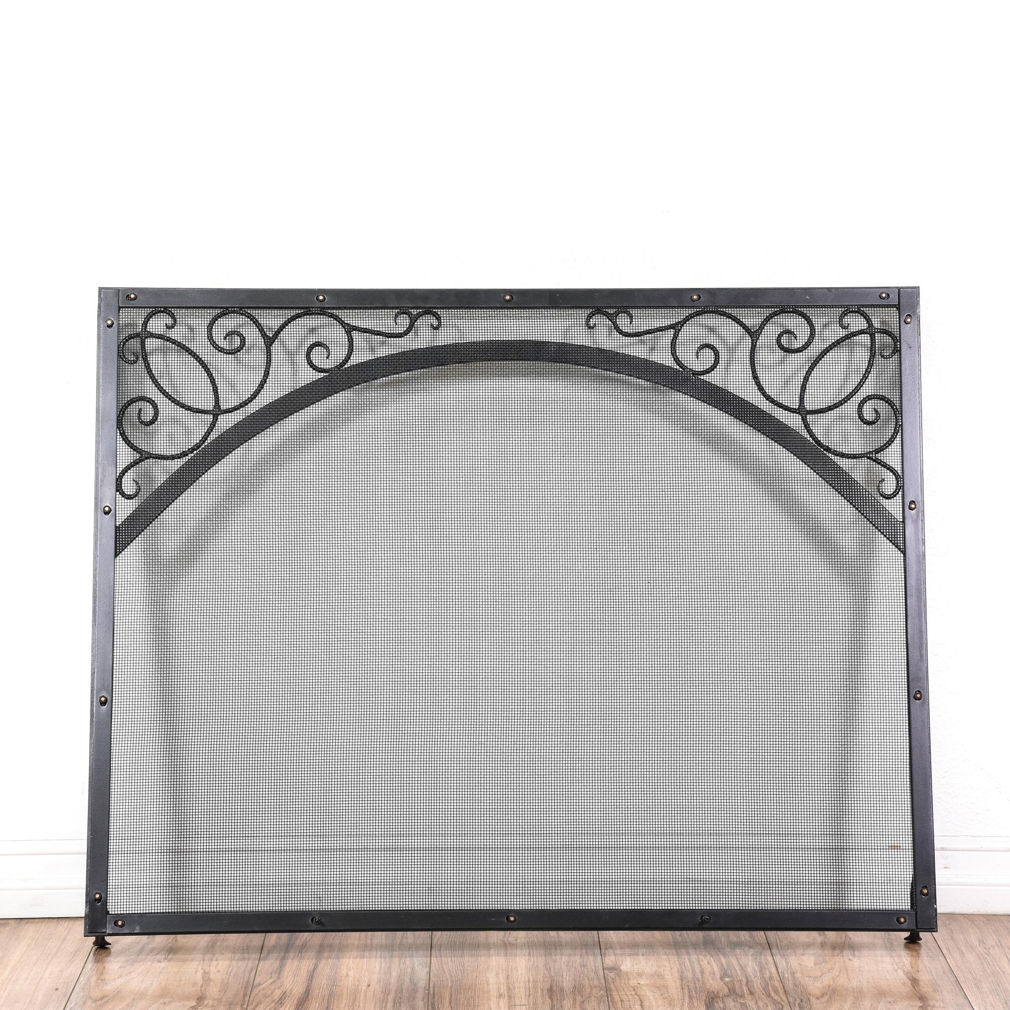 black wrought iron fireplace screen loveseat vintage
