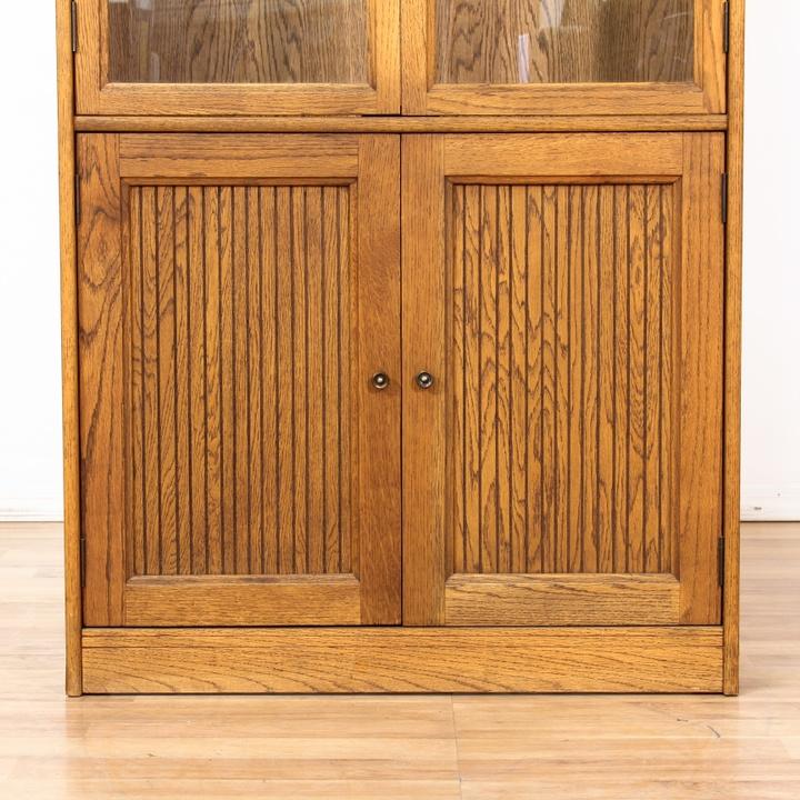 Double Glass Door Cabinet W/ Bottom Storage