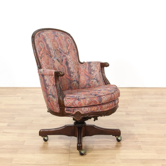 Bohemian Red Print Carved Wood Desk Chair Loveseat