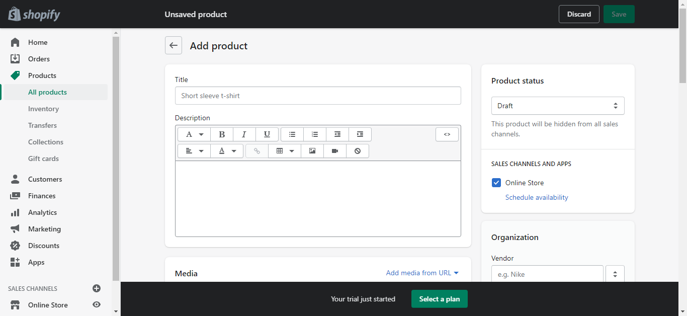create product shopify