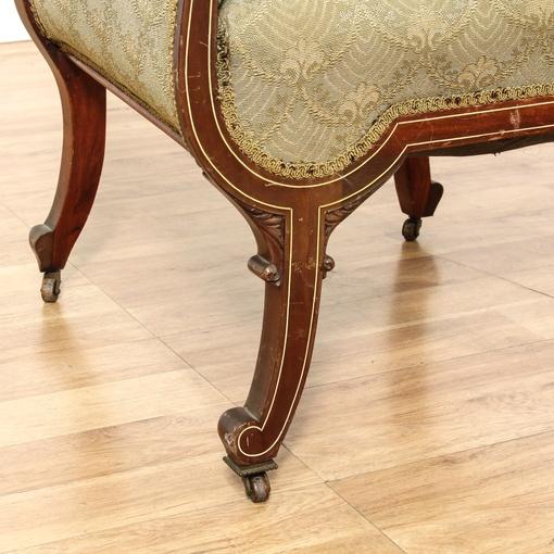 Victorian Green Upholstered Armchair Loveseat Vintage