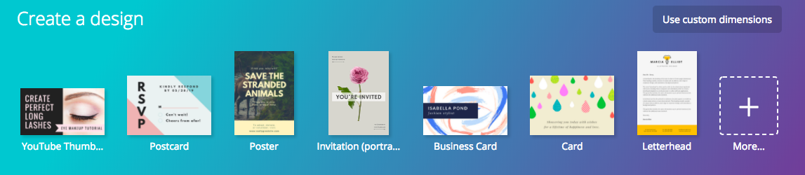 when you go to canvas homepage youll be met with the option to select from their most popular templates these are great because theyre designed to - Canva Business Card