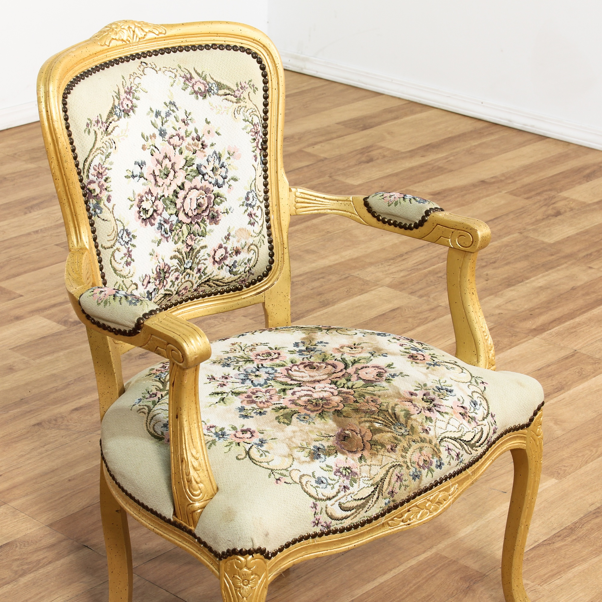 Needlepoint upholstered victorian style armchair for Victorian furniture los angeles