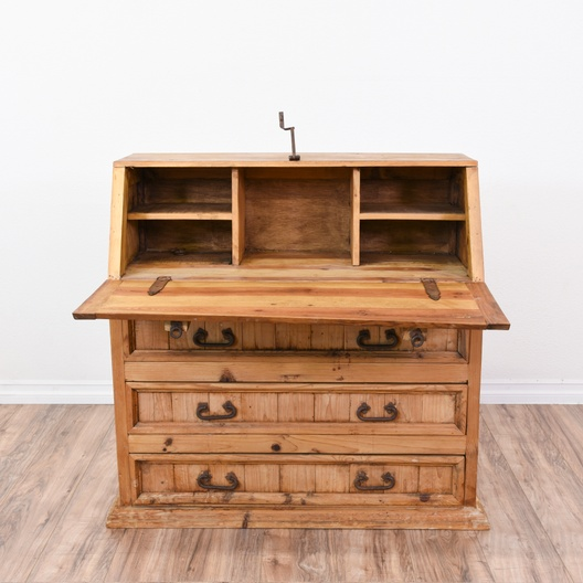 Next - Rustic Pine Drop Down Secretary Desk Dresser Loveseat Vintage